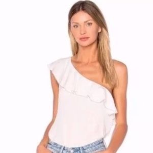 NEW Joie Ernesta One Shoulder Silk Ruffle Top